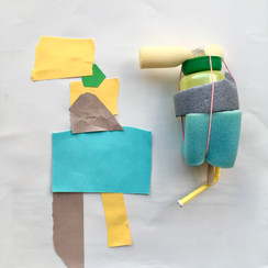 Abstract sculptures documented in collage