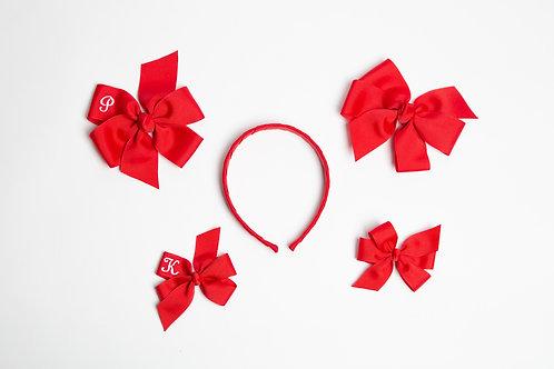 Medium Embroidered  Flower Bow