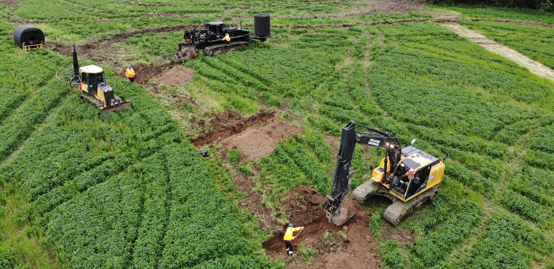 excavating farm drainage