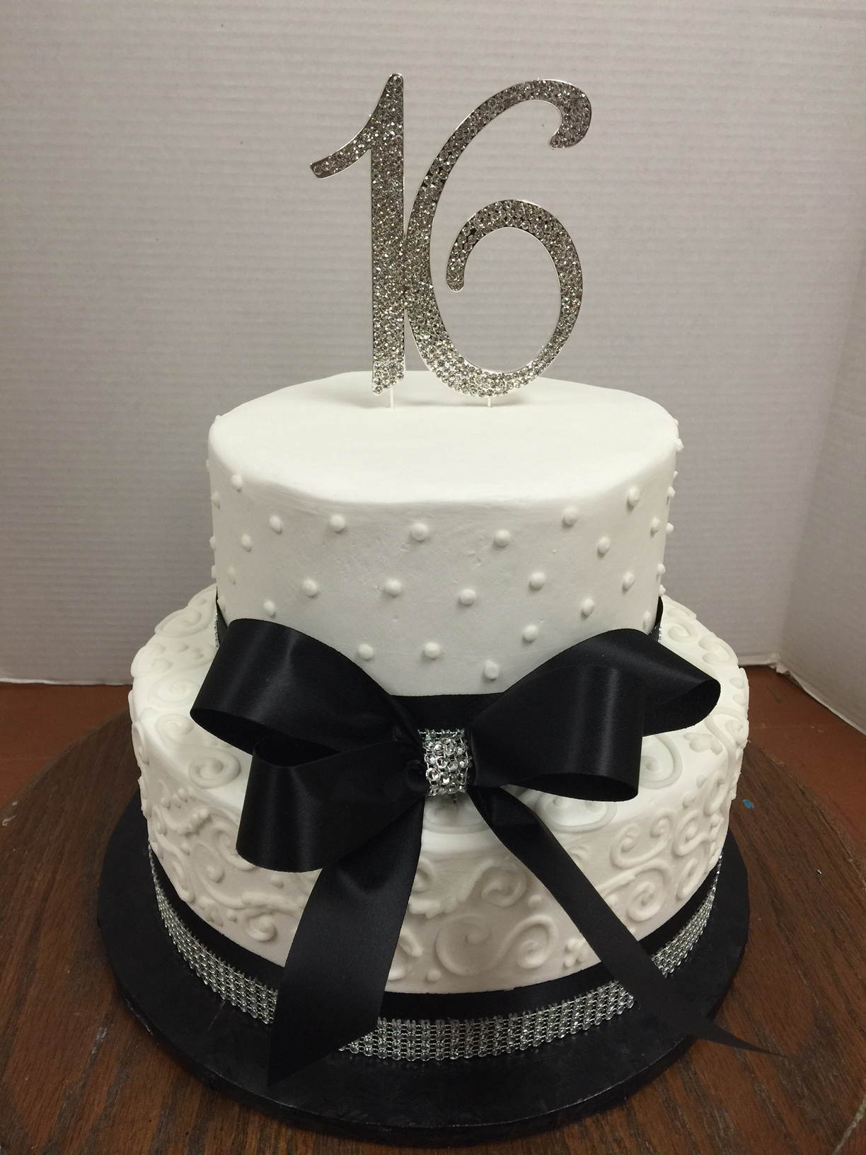 Silver and Black Sweet 16 Cake