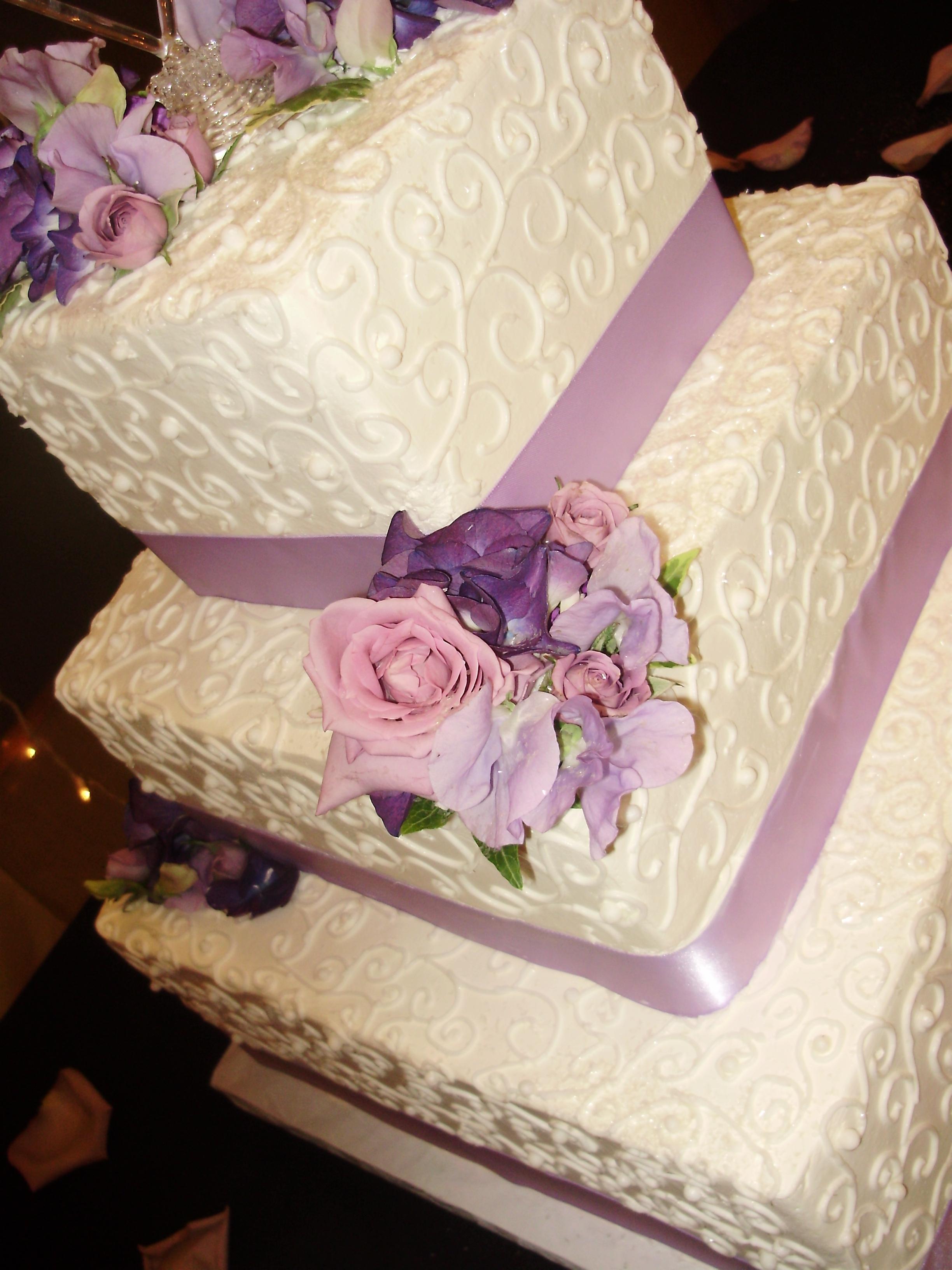 Lavender Square Wedding Cake