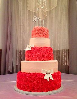 5 tier monochromatic buttercream rosette cake