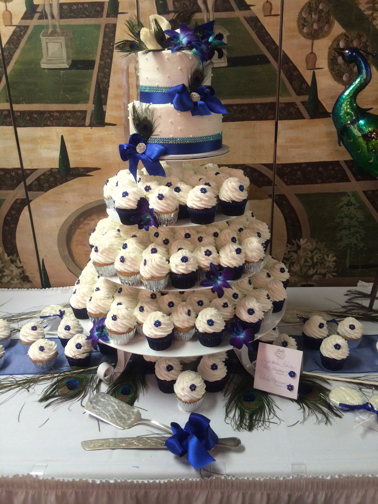 Peacock Cake and Cupcakes