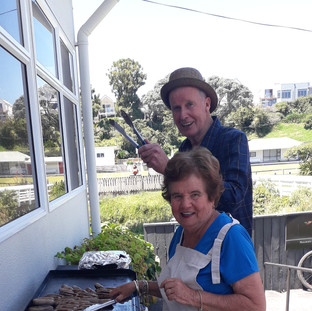 Our two BBQ chefs – Tony Bird and Jan Clarke