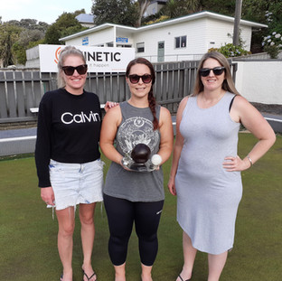 Jayna Richards, Dana Meyer and Janine Williamson – winners of Business House Bowls Monday 3 February 2020