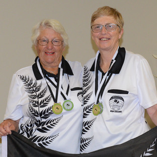 """The Gold winning pairs of Joan Richards and Carolyn Wilks"""" after the International Deaf Bowls Tournament"""
