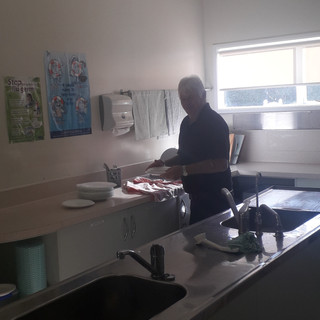 Colin Christie showing no sexism in the Fitzroy kitchen !!