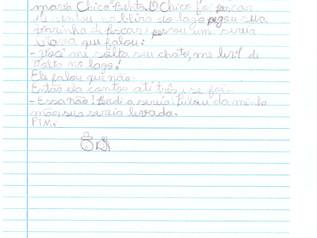 """""""A sereia e o Chico Bento"""" - Produção textual de aluna do 1° Ano E.F que se destacou"""