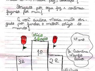 GRATIDÃO, cartinha feita pela aluna do 4º ano B.