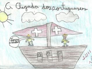 """A Chegada dos Portugueses"" - Livro escrito por aluno do 4° Ano E.F que retrata a chegada"