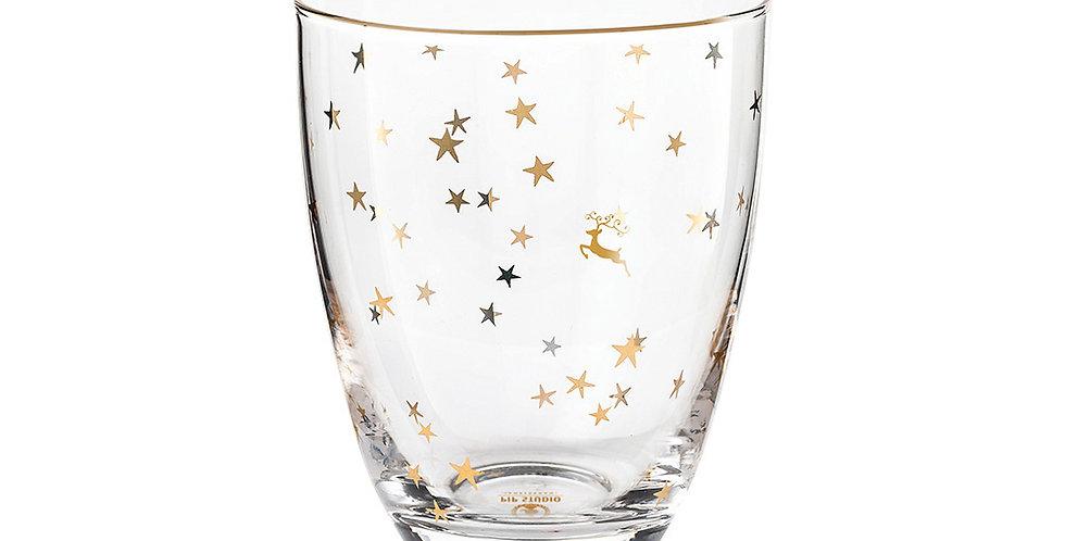 Copo vidro decorado estrelas douradas pip studio decoração