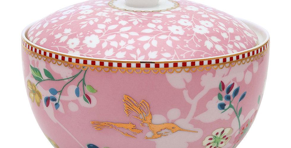 Açucareiro rosa Floral Detalhes Decoração na Porcelana