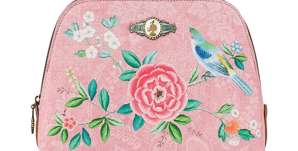 Necessaire média rosa decorada flores passarinho pip studio
