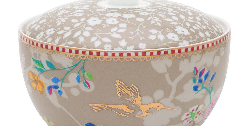 Açucareiro Cáqui Floral Detalhes Porcelana Ouro Decoração