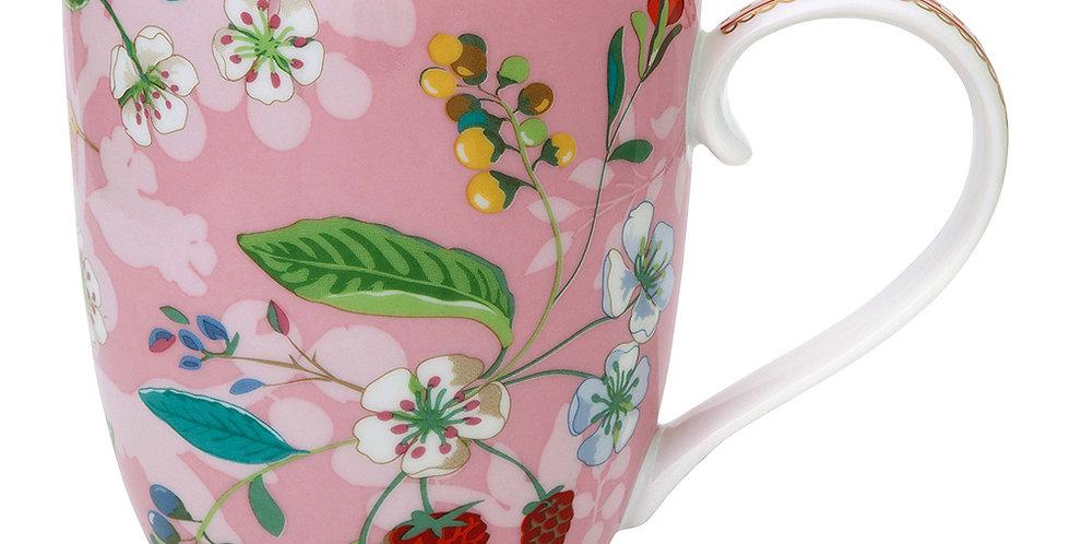 Caneca Extra Grande Floral Rosa Porcelana