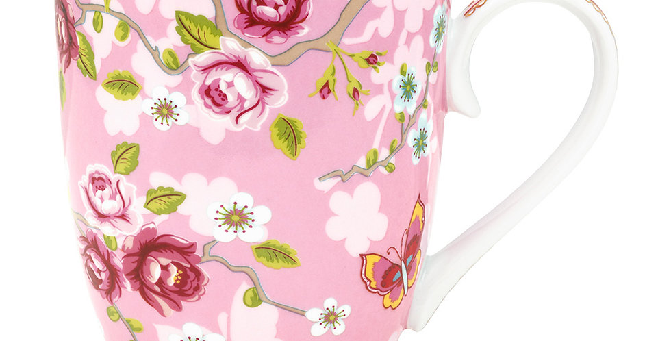 Caneca Grande Chinese Rose Rosa - Early Bird