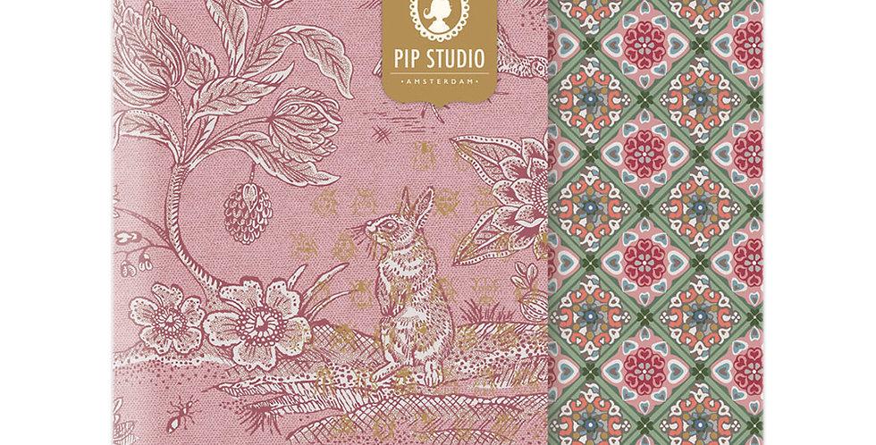 Set 2 Cadernos Rosa Decorado Ouro Papelaria Presente