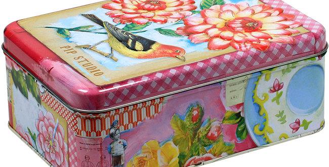 caixa pequena floral lata