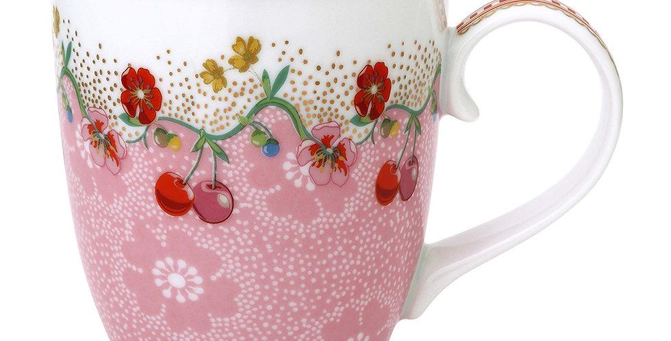 Caneca Grande Rosa Floral Decoração Porcelana Holandesa Cereja