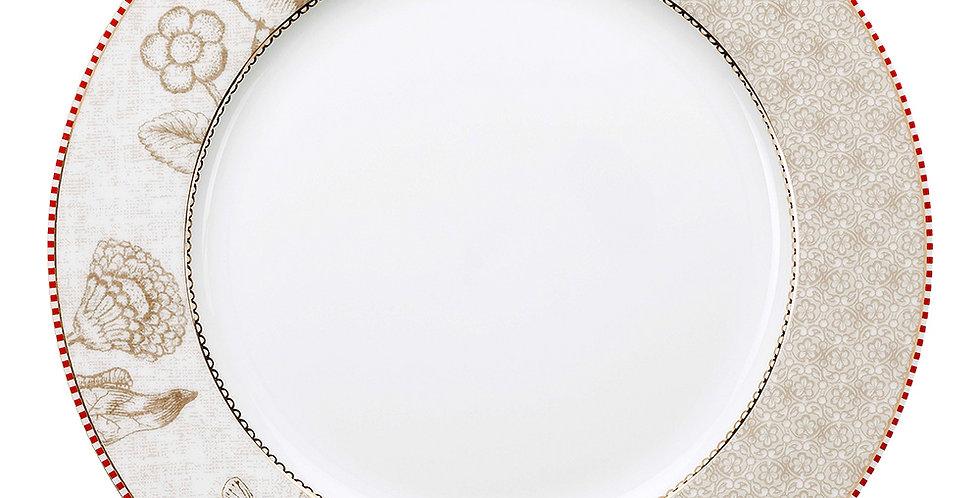 Prato de jantar em porcelana decorada com detalhes em ouro