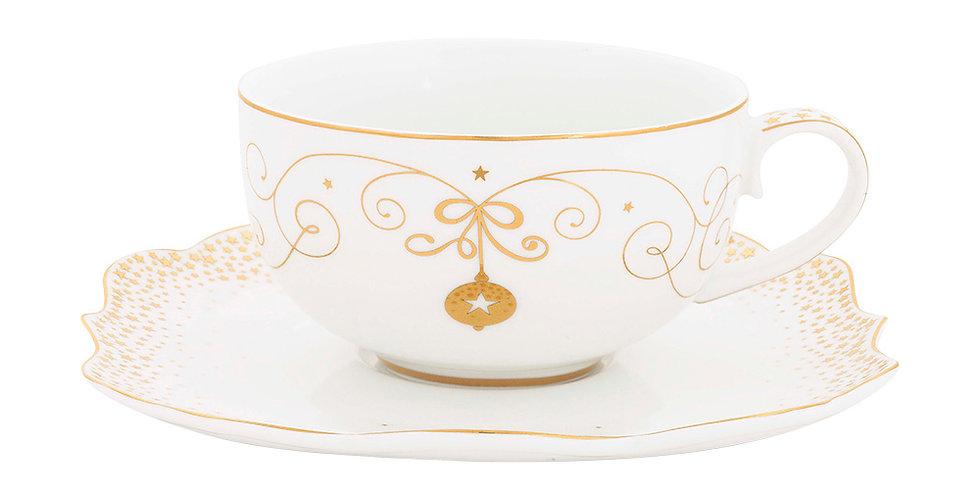 Xícara de Chá Decorada Dourado Ouro Porcelana Christmans