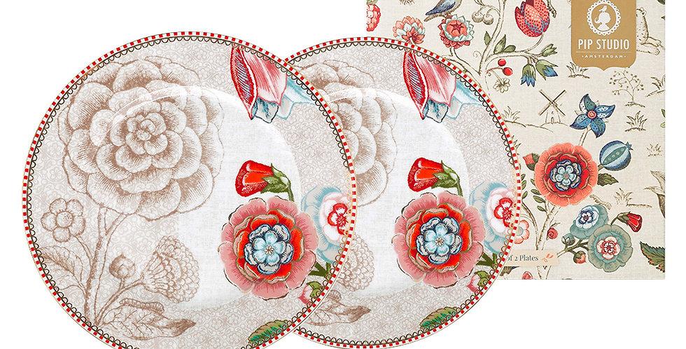 Set Presente Prato Pão Off-White Spring to Life Porcelana Pip Studio