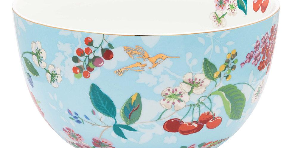 Tigela 23 azul floral porcelana decoração