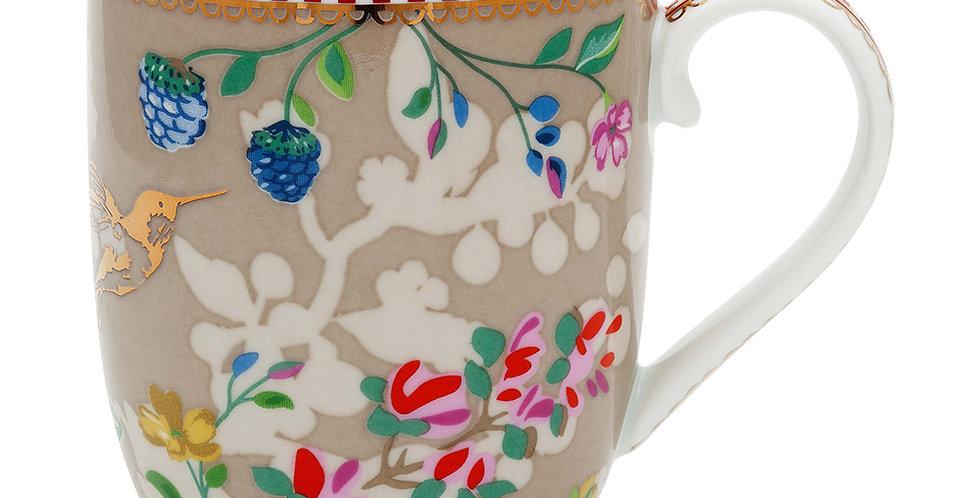 Caneca Pequena Caqui Porcelana Holandesa Decorada
