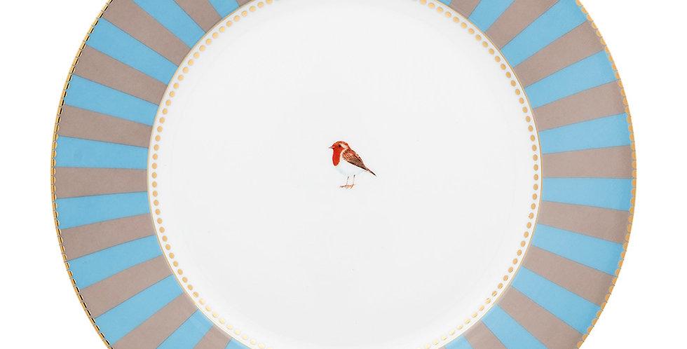 Prato de Jantar Azul Stripes - Love Birds