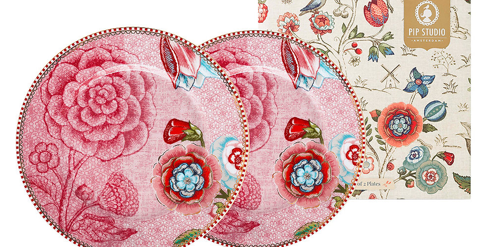 Set Presente Porcelana Decorada Pip Studio Rosa Prato Pão