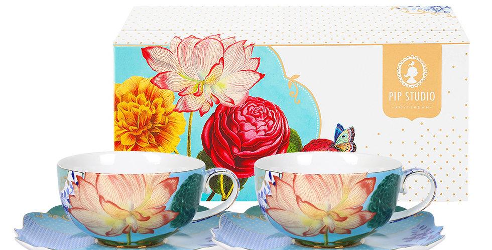 Set com duas xícaras de chá louça decorada holandesa