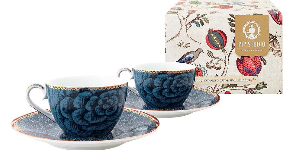 Set Xícara Cafézinho Azul Porcelana Spring to Life