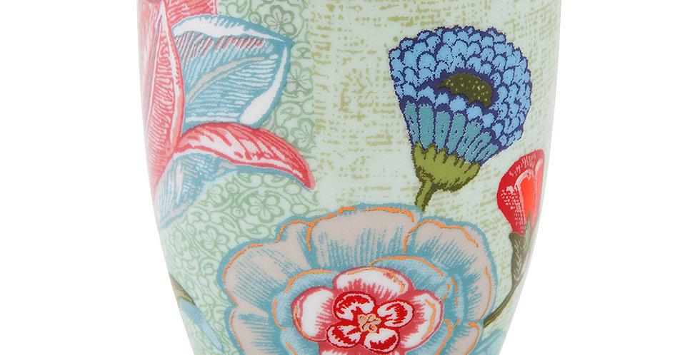 caneca sem alça verde porcelana holandesa