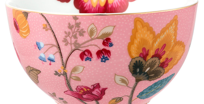 Tigela Rosa Floral Fantasy Porcelana Decorada