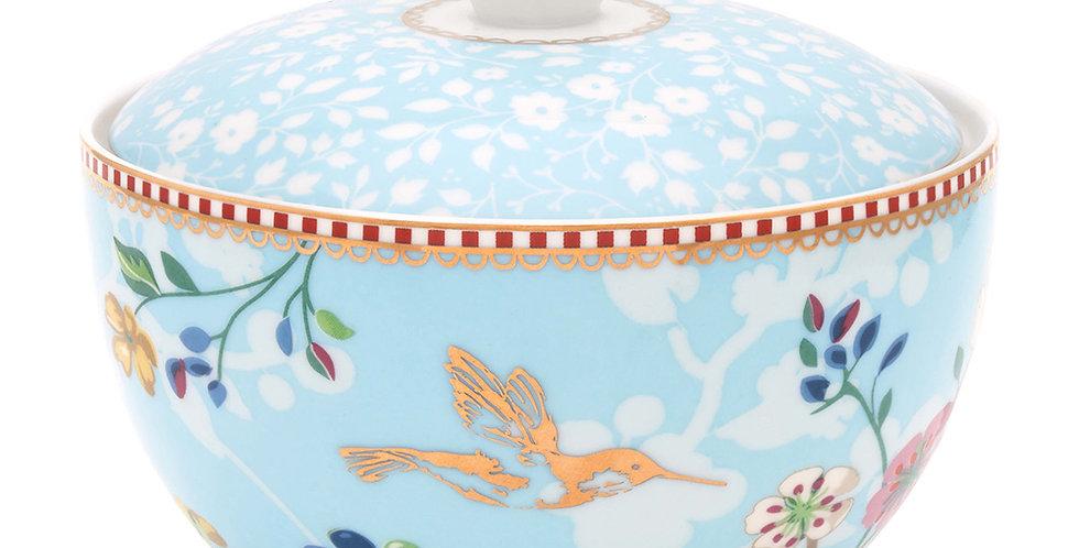 Açucareiro Floral Detalhes Porcelana Ouro Decoração