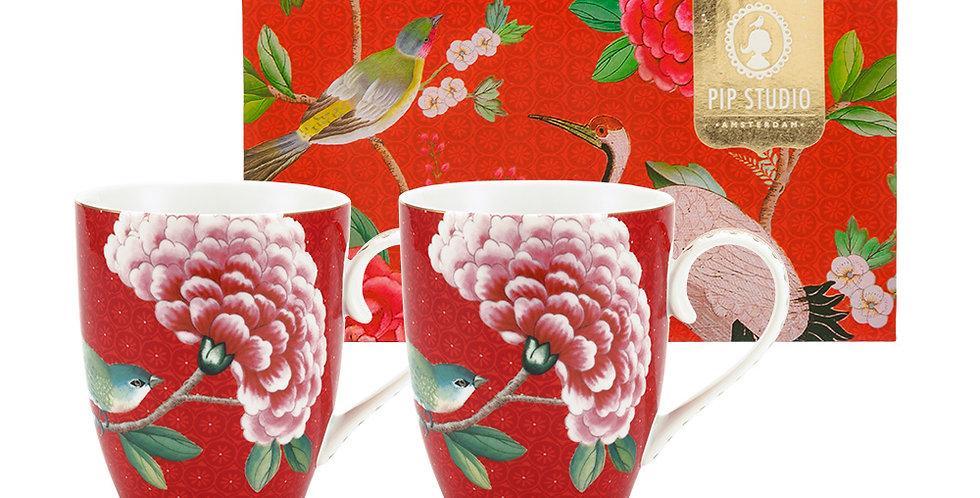 Set/2 Caneca Grande Vermelho - Blushing Birds