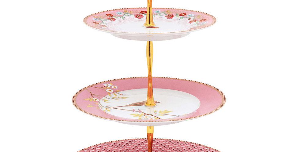 Prato para doces rosa floral 3 andares Decoração Porcelana