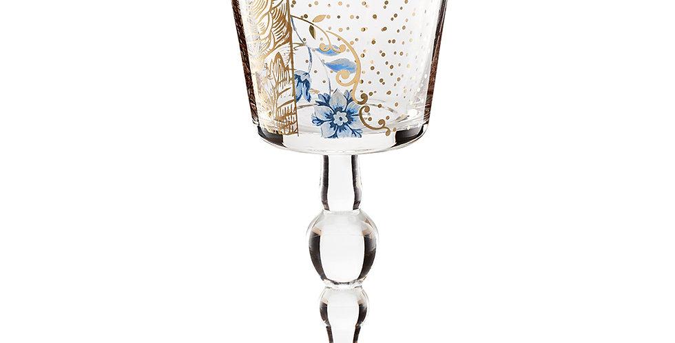 cálice para vinho decorado vidro delicado