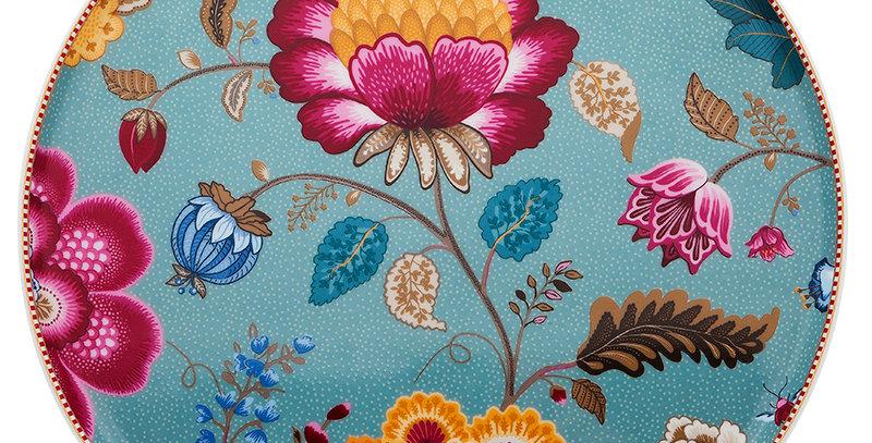 Prato Bolo Azul Floral Fantasy Porcelana Holandesa