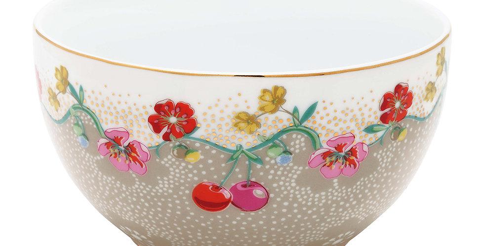 Tigela cáqui floral cherry porcelana decorada