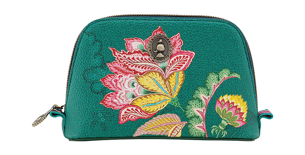 Necessaire Pequena Triangle Jambo Flower Verde - Moon Delight