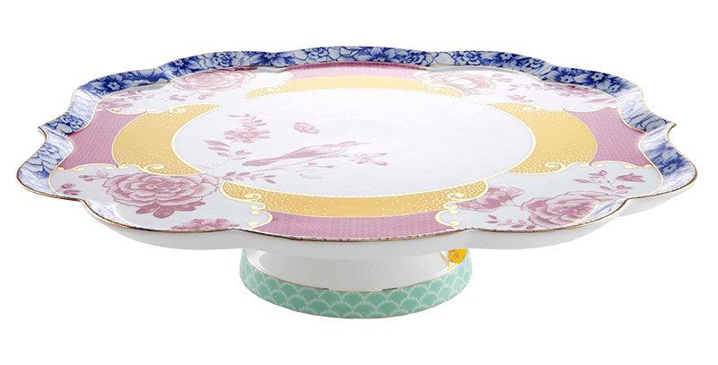 Prato Bolo Royal Porcelana Cores Decorada