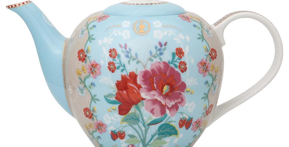 Bule Azul Flores Rosas Decoração Porcelana