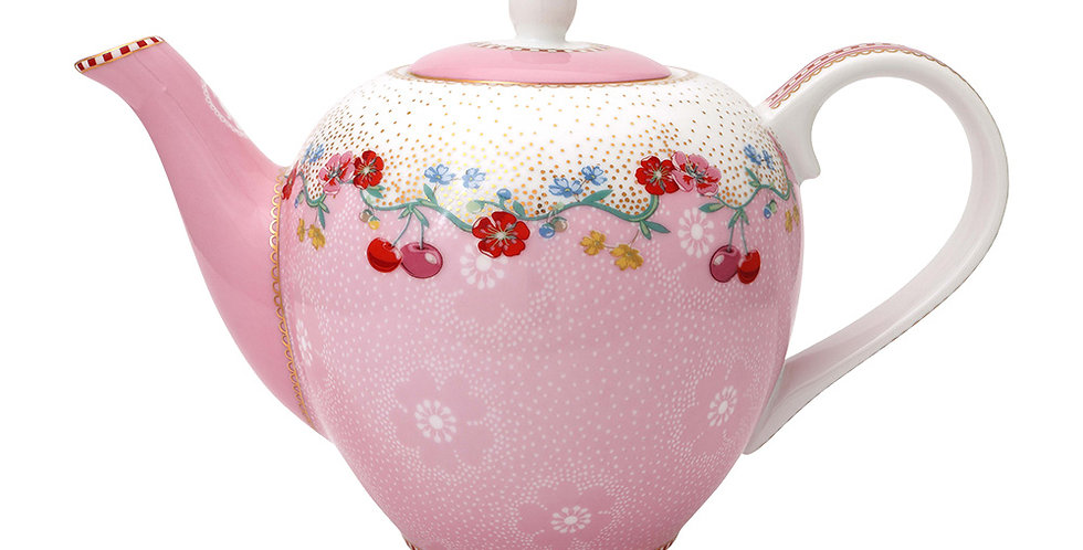 Bule Rosa Floral Decoração Porcelana Cereja Nova