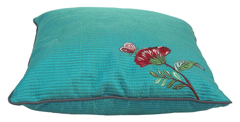 almofada bordada verde flores tecido decoração