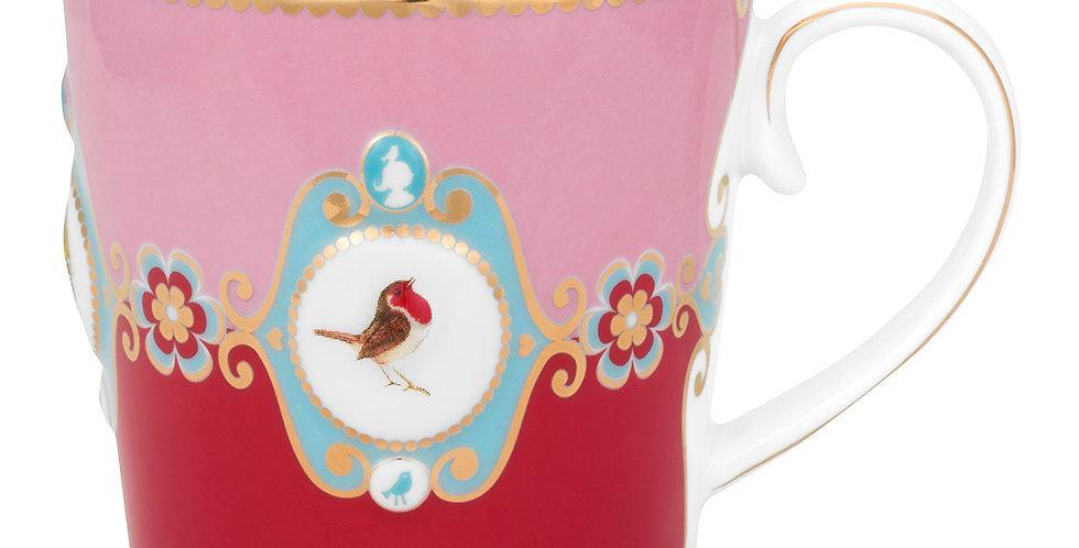 Caneca Grande Medallion Rosa/Vermelho - Love Birds