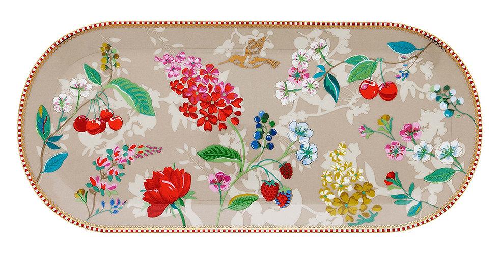 Travessa Cáqui Floral Nova Decorada Porcelana Pip Studio