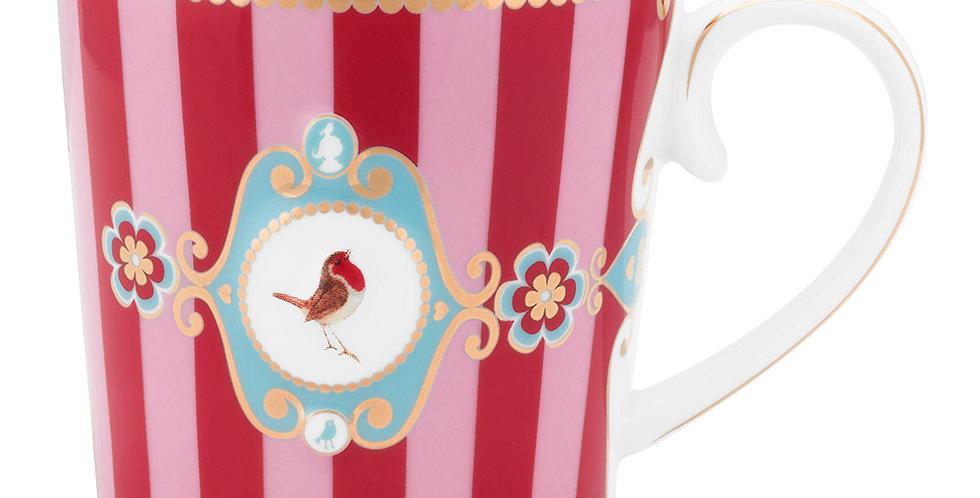 Caneca Grande Medallion Stripes Rosa/Vermelho - Love Birds