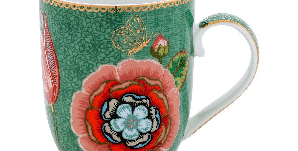 Caneca em porcelana holandesa com decoração em flores vermelha