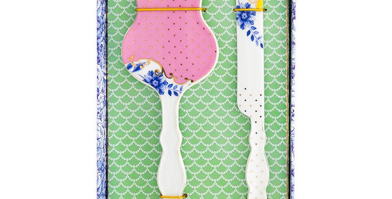 caixinha espátula bolo faca porcelana colorida decorada